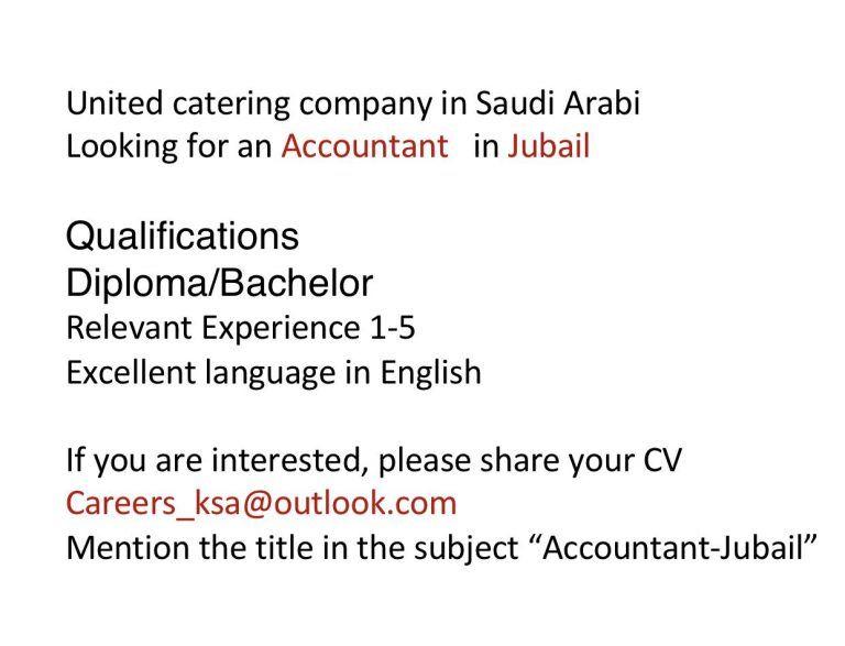 Accountant Ksa Openings Accounting Job Catering Companies