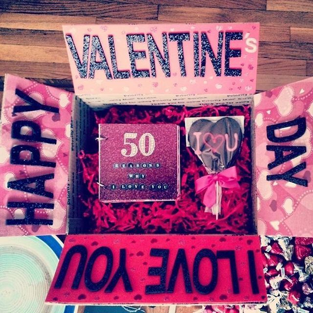 Valentine box 50 reasons I LOVE U Valentines diy