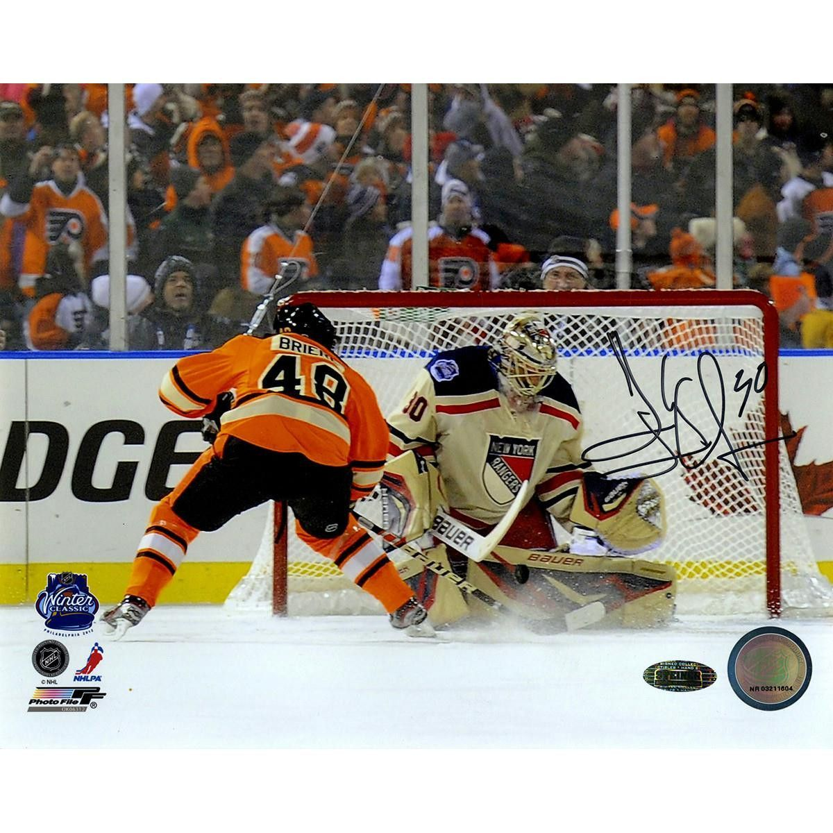 Henrik Lundqvist Penalty Shot Save vs Danny Briere 2012 Winter Classic  Horizontal 8x10 Photo (Signed in Black) 7c0da5fd2