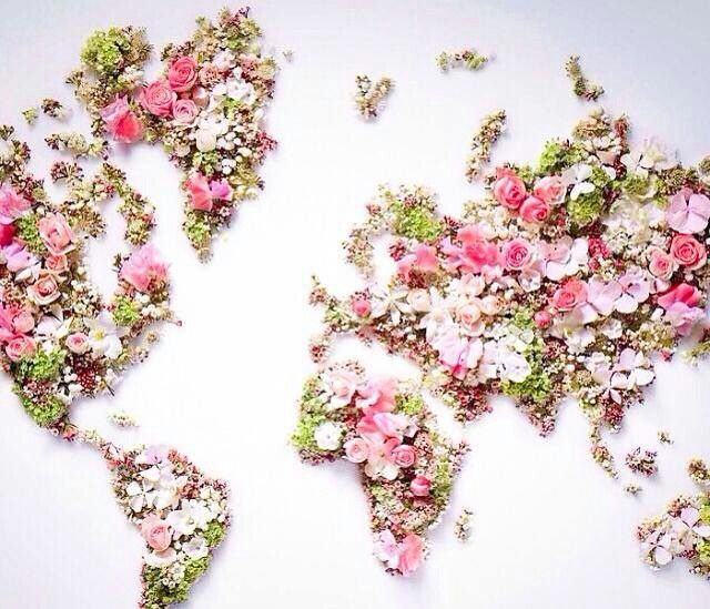 World map ☆ flower world | style and the city | Flowers, Love