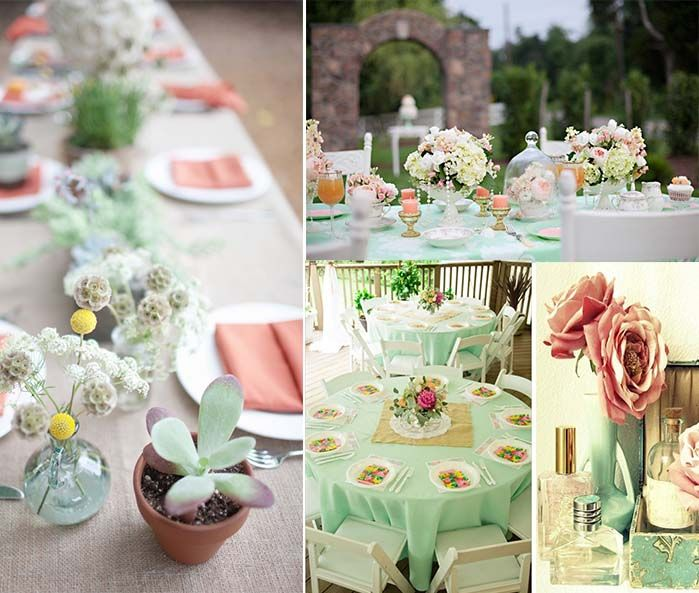 Mint Color Outdoor Ceremony Decorations: Mint Green Color Themed Wedding Centerpieces