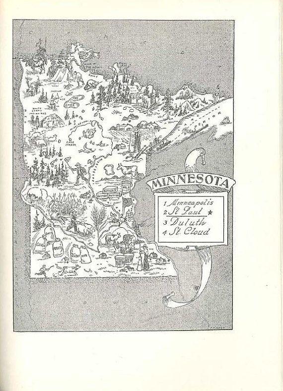 State Map Of Minnesota Minnesota Map Print Vintage Map Art