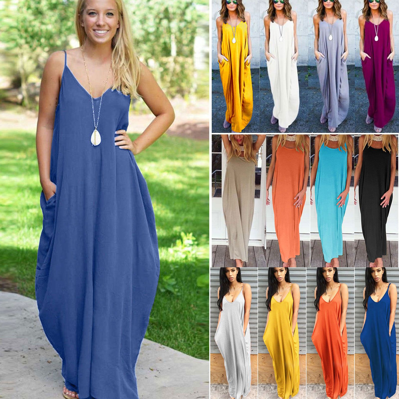 Womens Boho Long Maxi Dress Summer Sundress Beach Dress Plus Size Casual Summer
