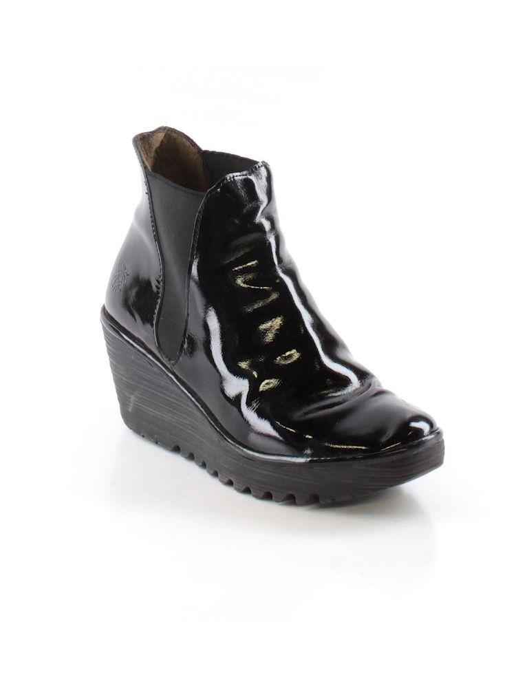 2f803511430 Women Fly London Luxor Black Patent Yoss Wedge Ankle Bootie Shoe Size 39 # FlyLondon #Booties