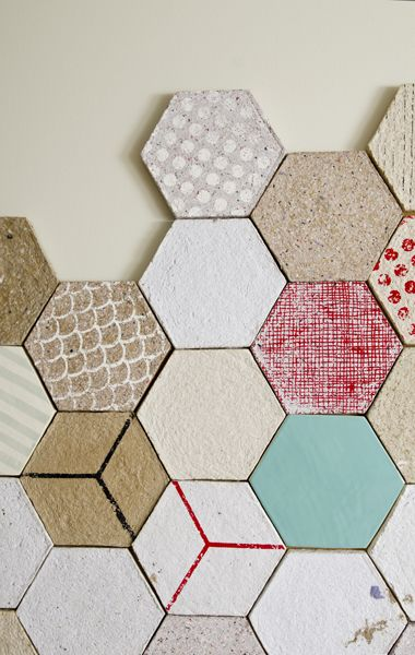 Moulded recycled paper and ceramic tiles- can be used as sound cover, and have some sound-proofing qualities. Made by Dear Human.