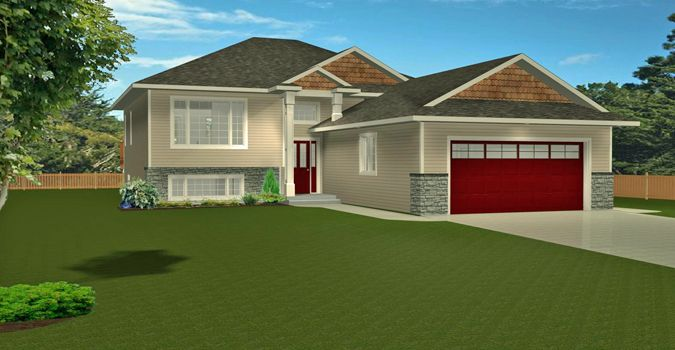 House Plan 2006302 Open Concept Bi Level With 2 Car Garage By Edesignsplans Ca 3 Bedroom Bi Le House Plans Open Concept Floor Plans Split Level House Plans