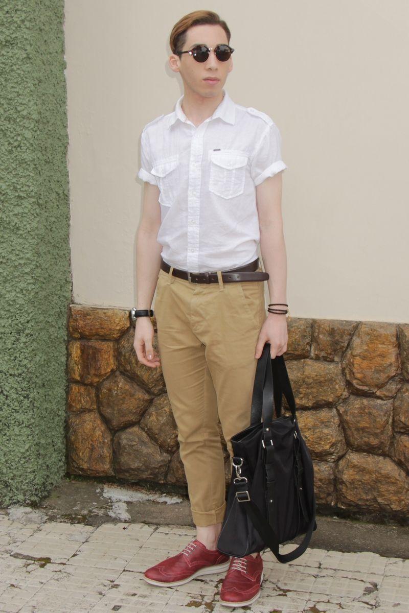 Men 39 S White Short Sleeve Shirt Khaki Chinos Red Leather
