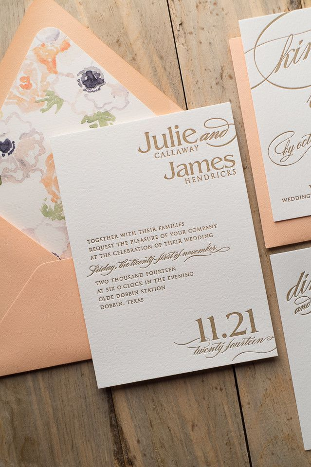 Cynthia Suite Fl Package Peach Gold Watercolor Letterpress Wedding Invitations
