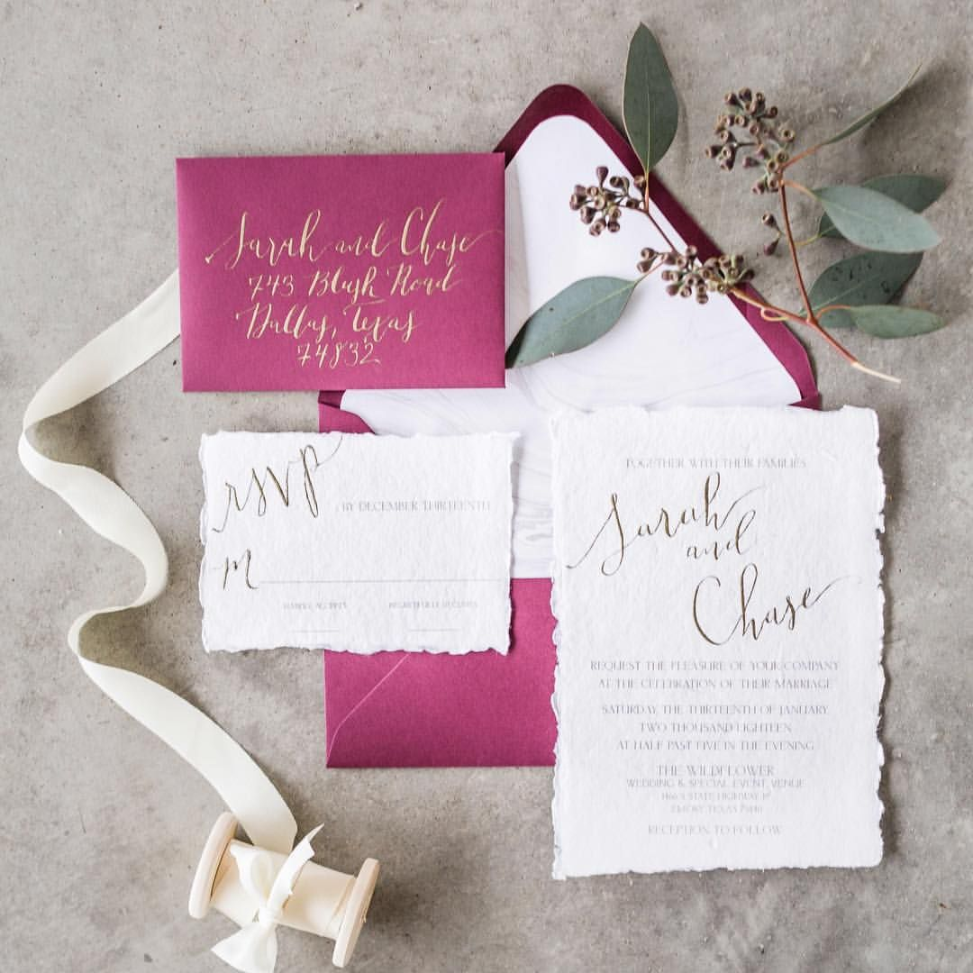 Blush and Burgundy Calligraphy Wedding Invitation Suite