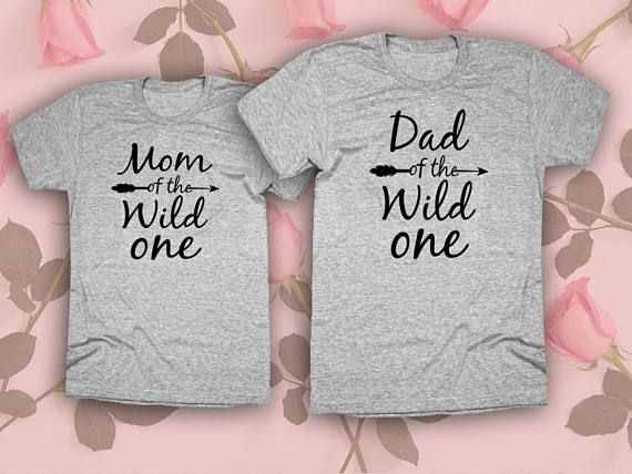 4a04bc5f Mom Dad of the wild one Set of 2 .MaMa Shirt. Papa Shirt. Matching Shirts.mommy  Daddy shirts. Family Tees. UNISEX