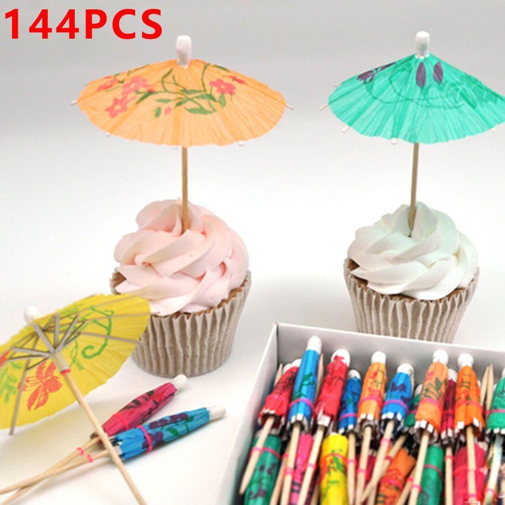 144pcs Paper Cocktail Parasols Umbrellas Drinks For Drinks Hawaiian Party Supplies Umbrella Cake Topper Party Decor Kitchen,dining & Bar Barware