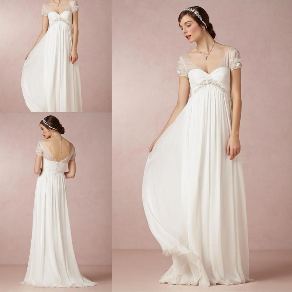 8073e93d91 DN Vintage Sheer Empire Waist Wedding Dresses Maternity Women Floor ...