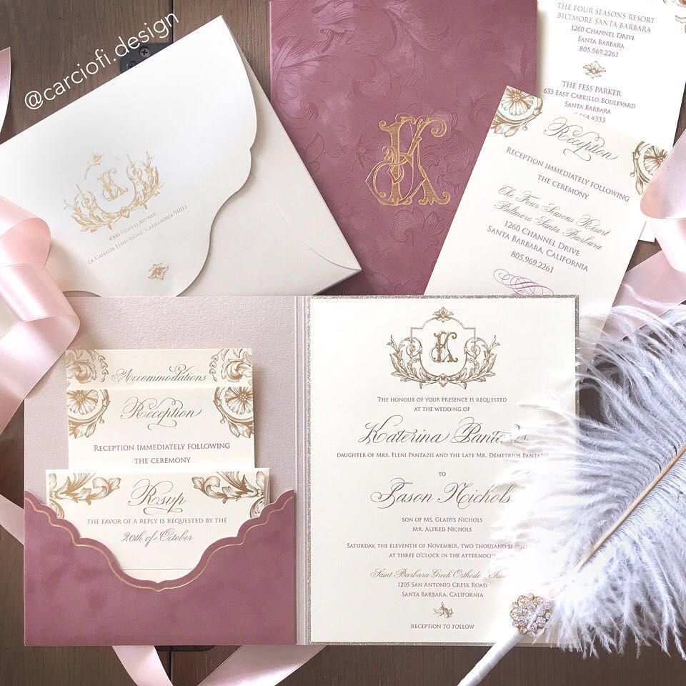 Embossed dusty rose faux suede with gold foil and letterpress ...