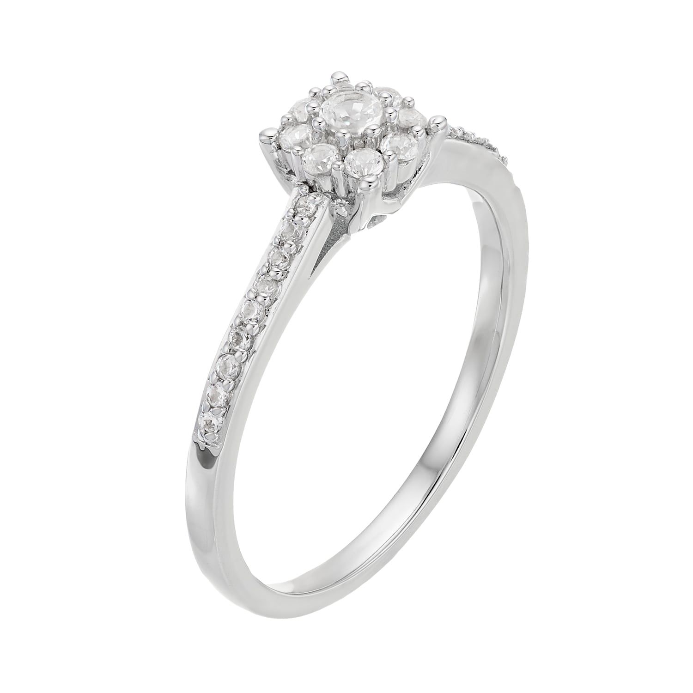 a7c498222 Lovemark 10k White Gold 1/4 ct. T.W. Diamond Cluster Engagement Ring #White