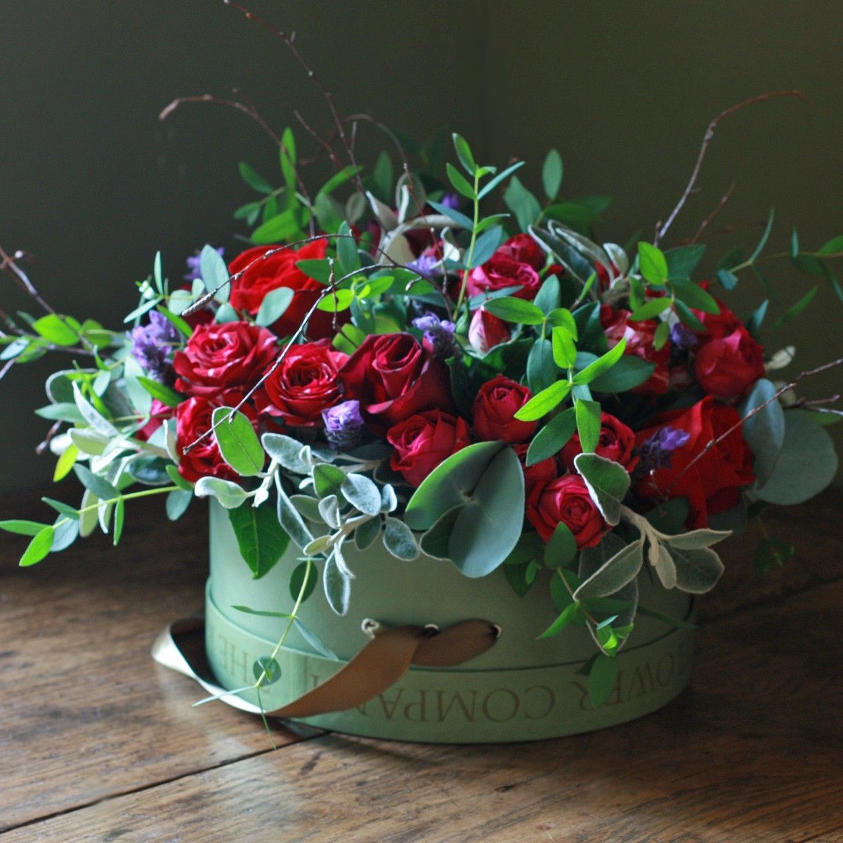 Luxury red rose and lavender hat box arrangement from