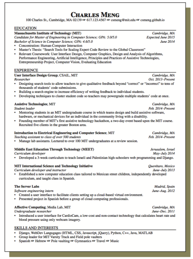 Sample Resume For Student Leader Examples Resume Cv Sample Resume Resume Massachusetts Institute Of Technology