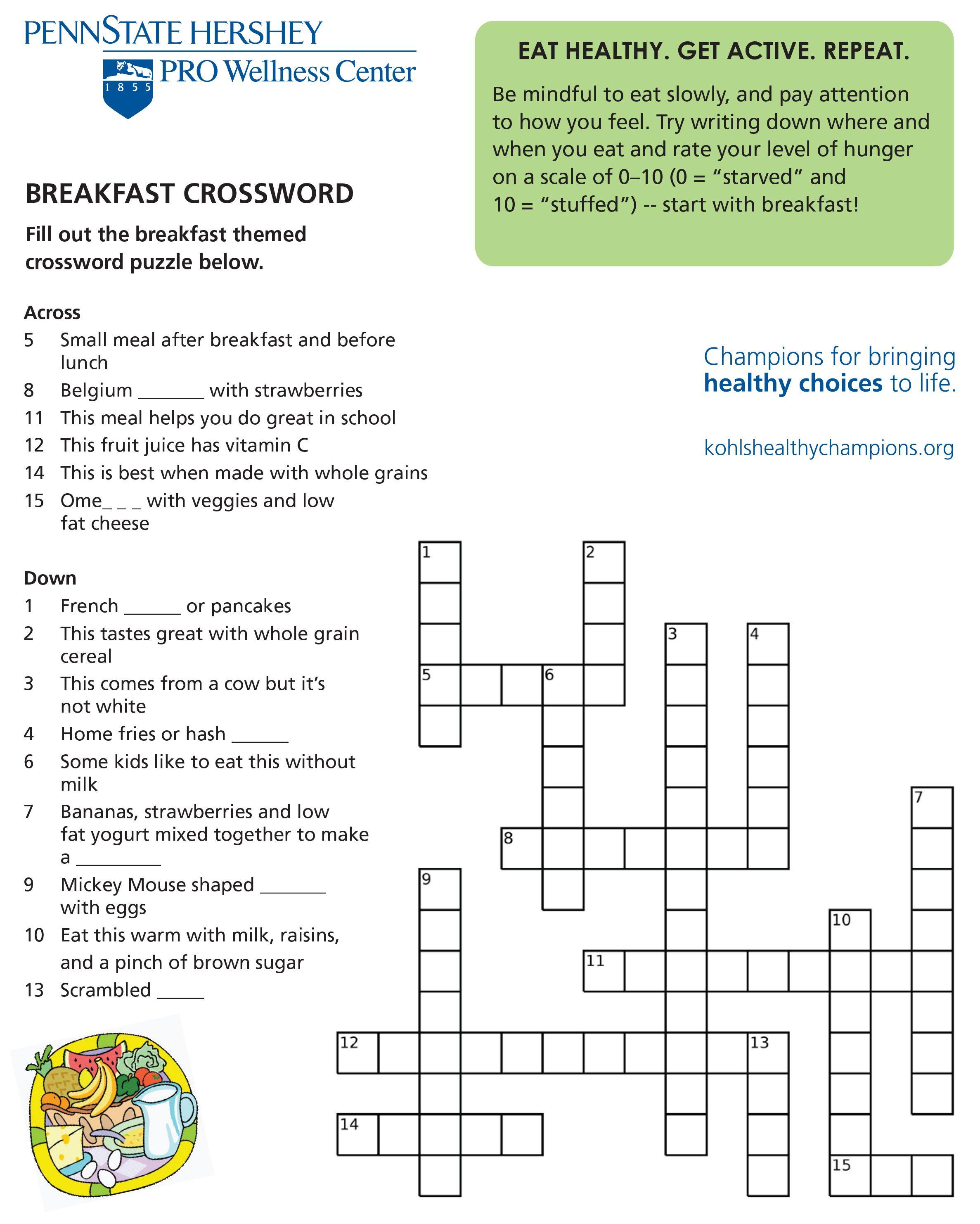 Healthy Breakfast Crossword Puzzle