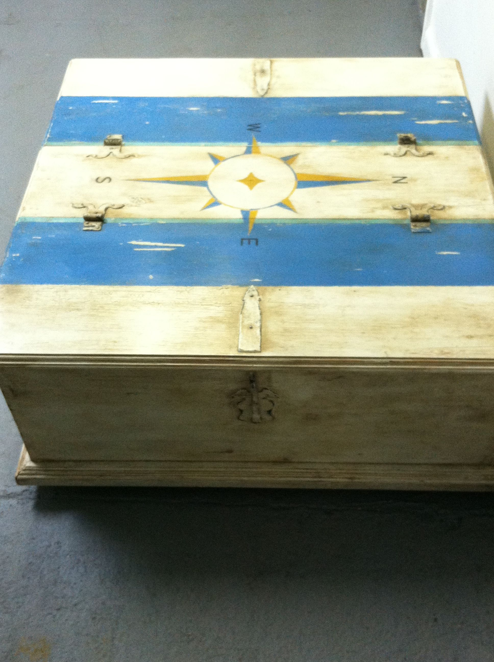 repurposed chest coffee table with hand painted nautical compass