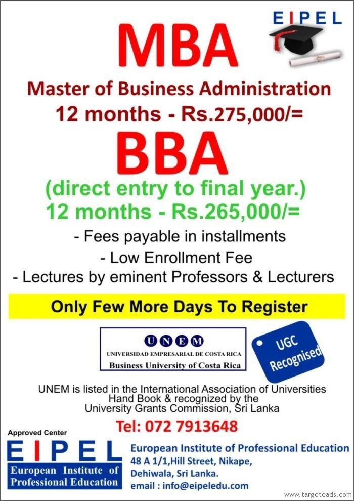 European Institute of Professional Education Masters in