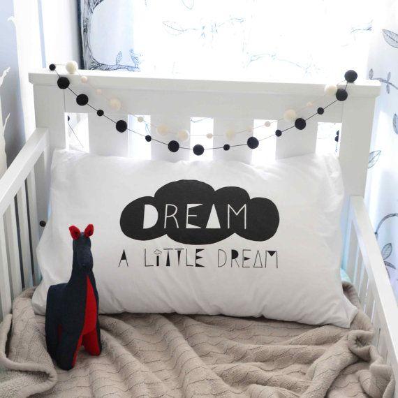 Dream A Little Dream Pillowcase Black Kids Pillowcases Pillow Pillow Case Kids Room Bedding Nursery Children Kids Pillow Cases Pillow Cases Pillows