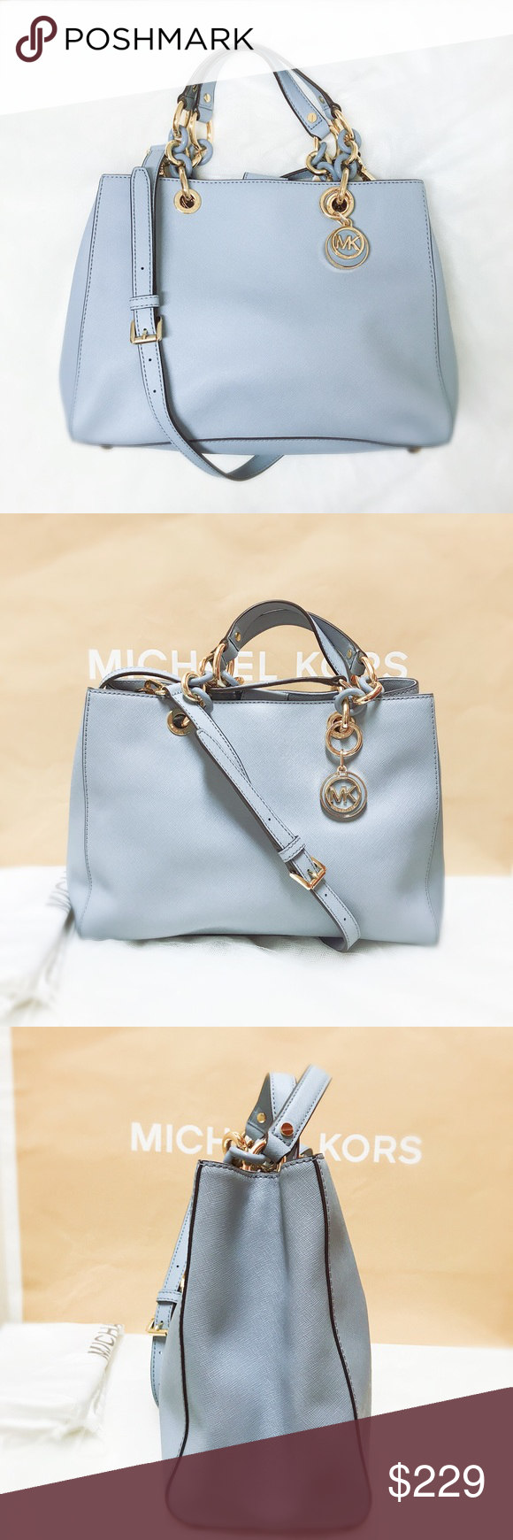 59725eb78df7 Michael kors cynthia medium leather satchel blue Authentic and brand new  with tag. Dust bag and MK gift box or bag are included.