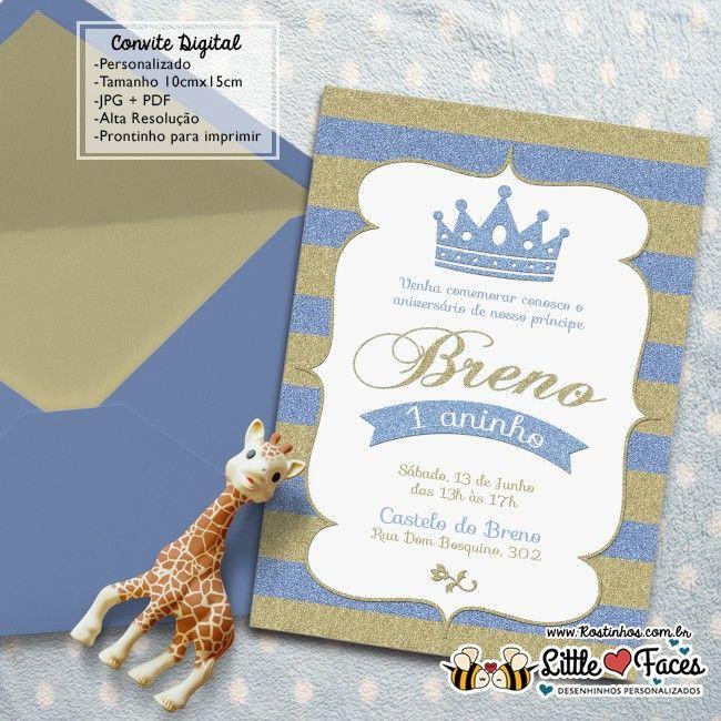 Convite Festa Príncipe Dourado Digital