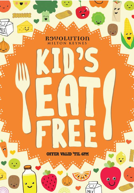 Kids Children Eat Free Menu Flyer Illustration Typography