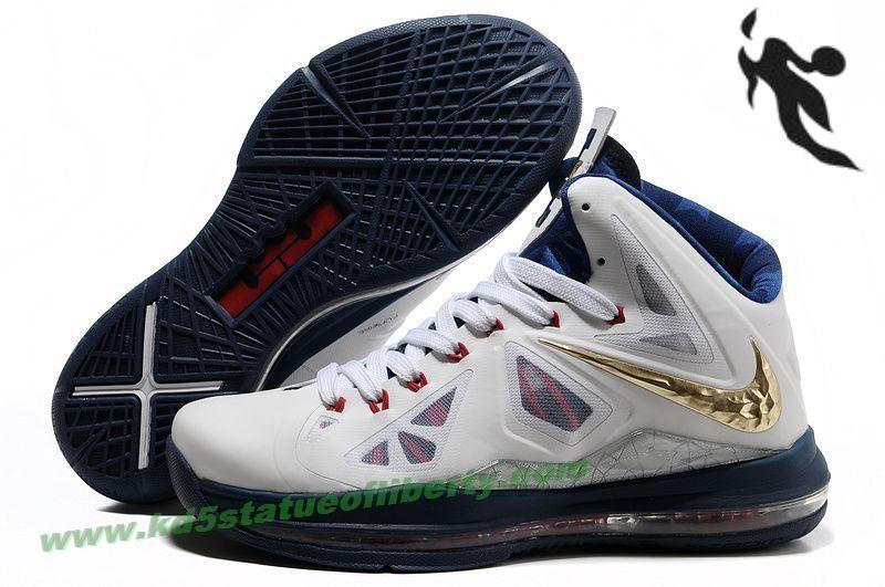 Nike Lebron X (10) USAB Sample White Navy Gold Style 542244 100