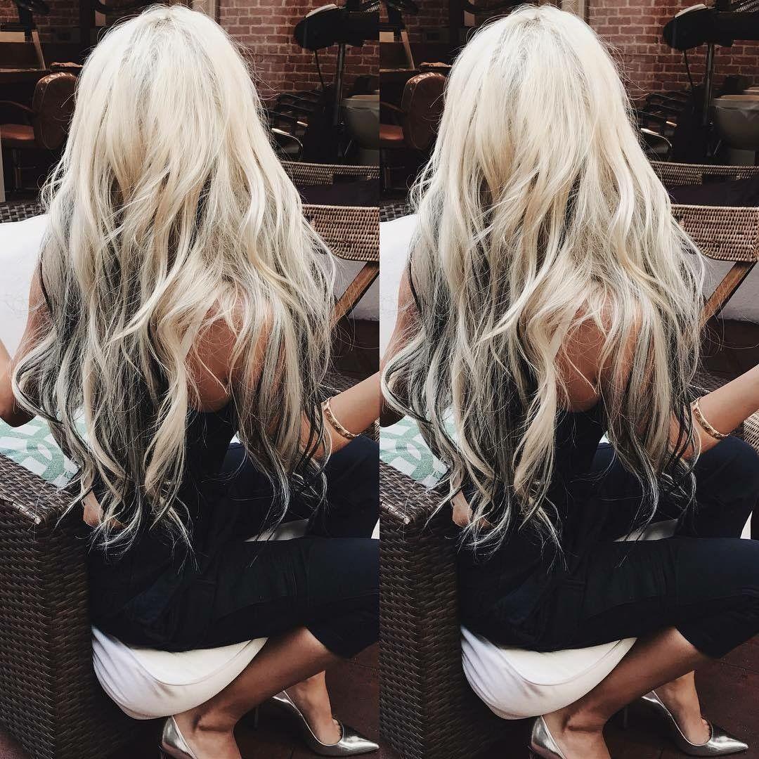Long Platinum Blonde Hair With Dark Underneath Lowlights Beautiful