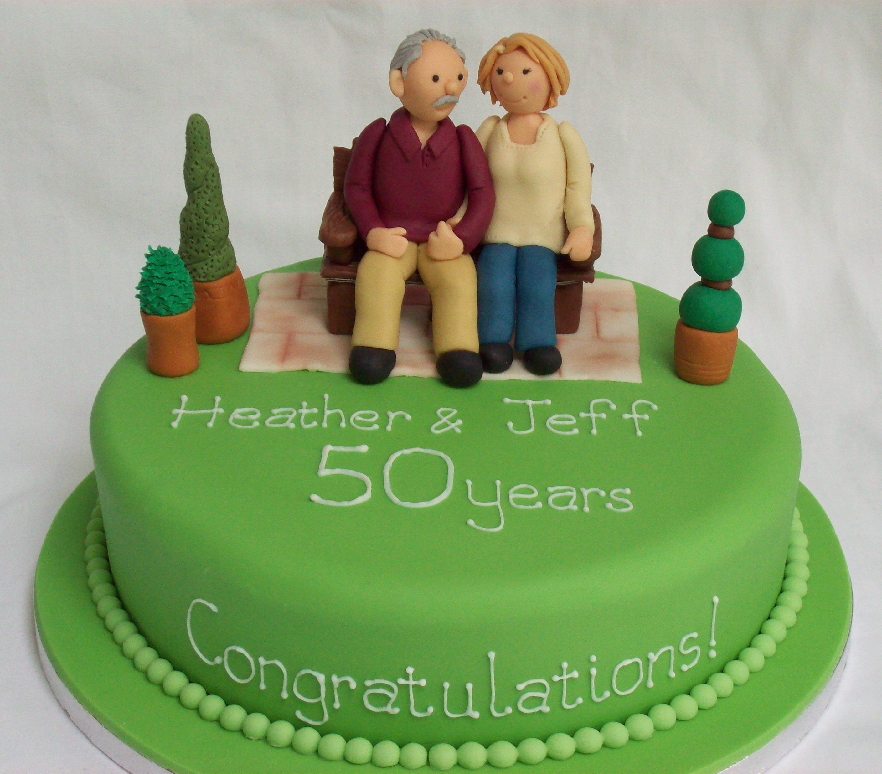 Personalised anniversary cake. Figures modelled from photo. | cake ...