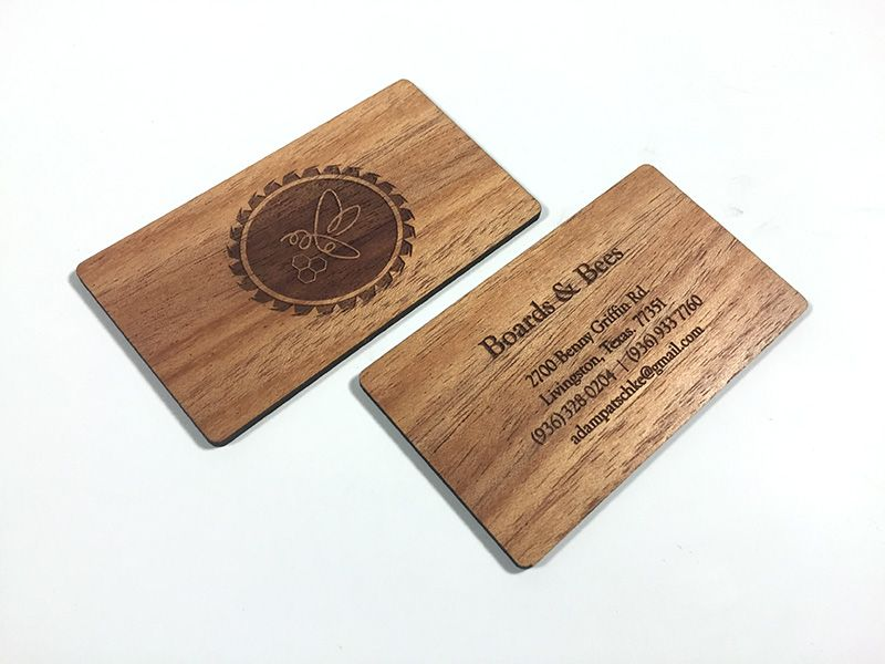 cool double sided wood laser engraved business cards - Engraved Business Cards