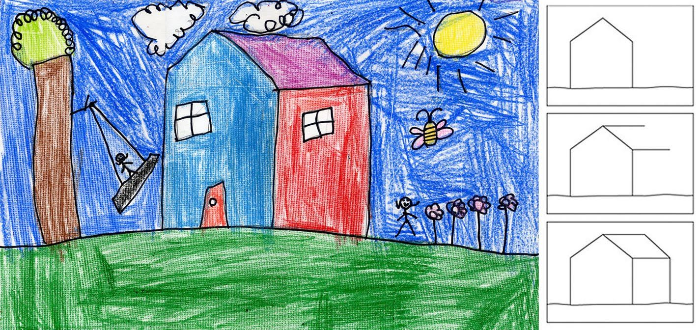 Art Projects For Kids Draw A Textured House Maybe A Robot