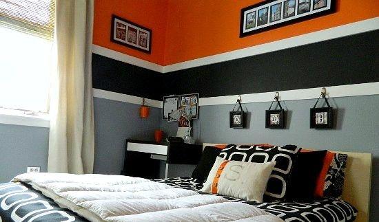 Pittura Cameretta ~ Parete arancione e grigia con striscia nero e bianco idee per la