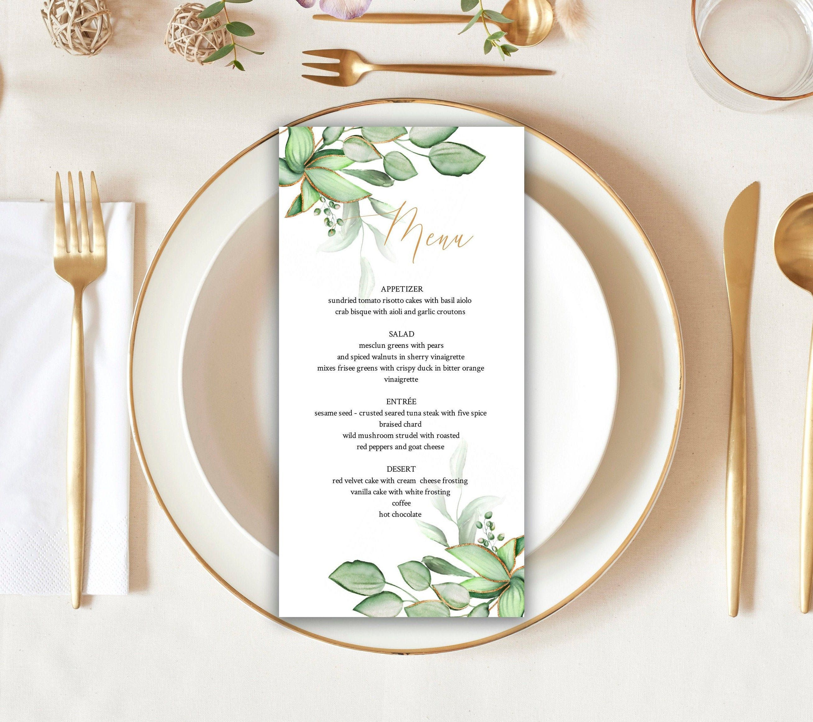 Greenery menu card template menu card eucalyptus wedding