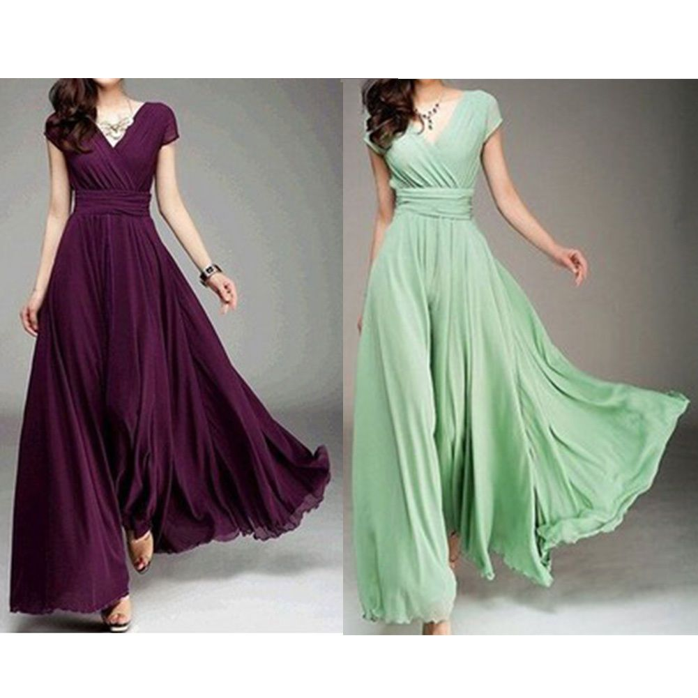 Cool awesome womenus summer boho vneck long maxi dress evening