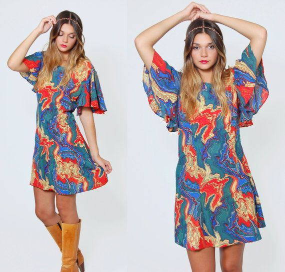 Vintage 70s PSYCHEDELIC Mini Dress Hippie Dress by LotusvintageNY