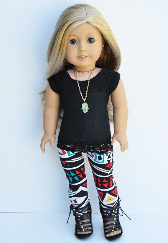 American Girl Clothes - Black Lace Cortina Top, Abstract Print ...