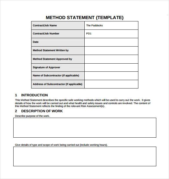 14 Method Statement Templates Download Free Formats In Word Pdf Statement Template Statement Of Work Statement