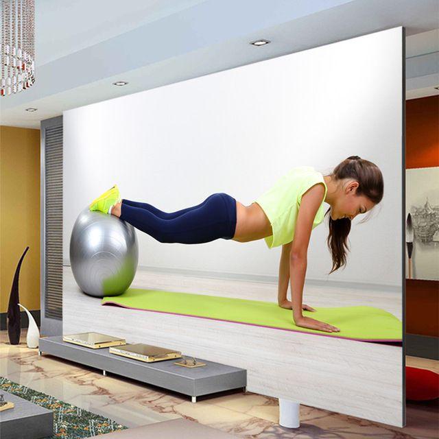Yoga Sports Fitness Photo Wallpaper Wall Mural Custom Silk Wallpaper Gym  Decoration Girls Bedroom Decor Sofa