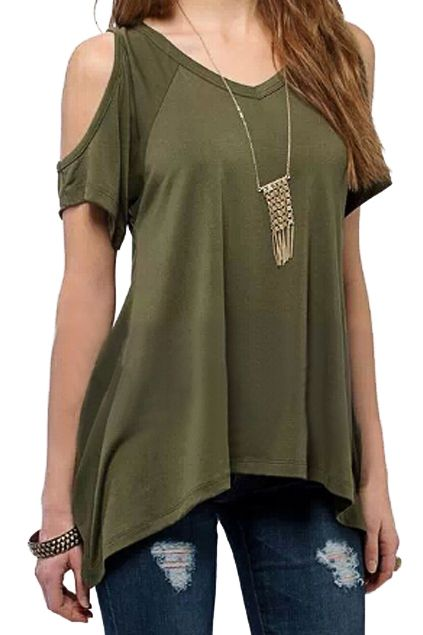 a3a9e1fb229f Round Neck Off-shoulder Tail Hem Navy-green T-shirt