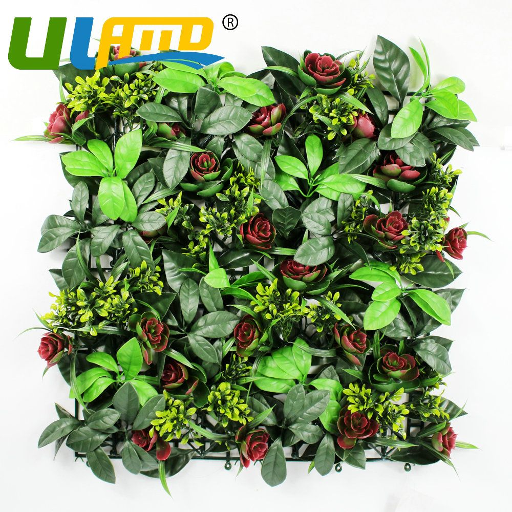 Uland Artificial Boxwood Grass Mat 48pcs 25cmX25cm Fake Fence ...