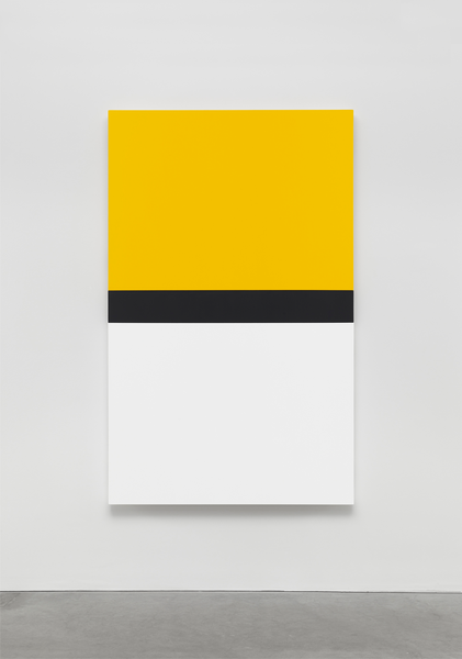 Ellsworth Kelly, Yellow with Black and White 2013 Oil on canvas, three joined panels 80 1/2 x 50 inches; 205 x 127 cm