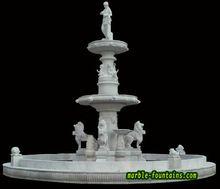 Jardim fontes de venda extra grande escultura de água com viva de leão e soldado de topo de de(China (Mainland))