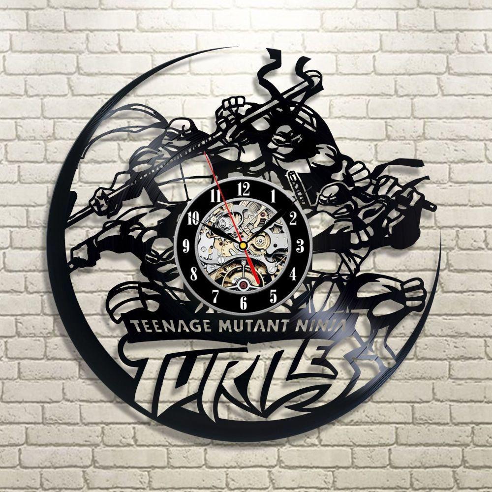 Carton clock teenage mutant ninja turtles theme vinyl wall art room