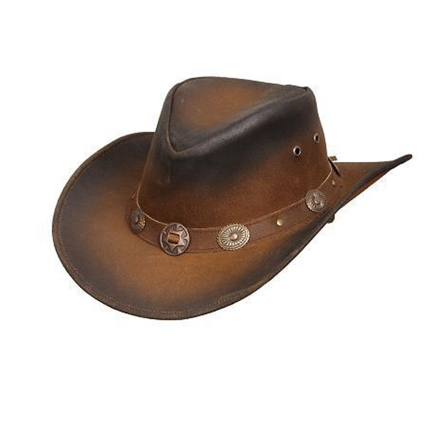 Authentic Benmore Outback Distressed Leather Australian Style Western Cowboy Hat