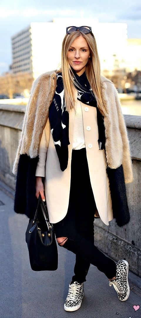 Layered in Gucci scarf