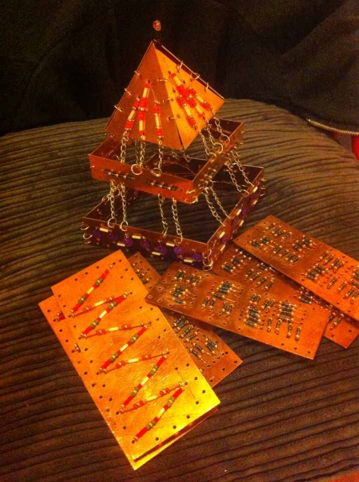 Pyramid sculpture, copper, wire and beads