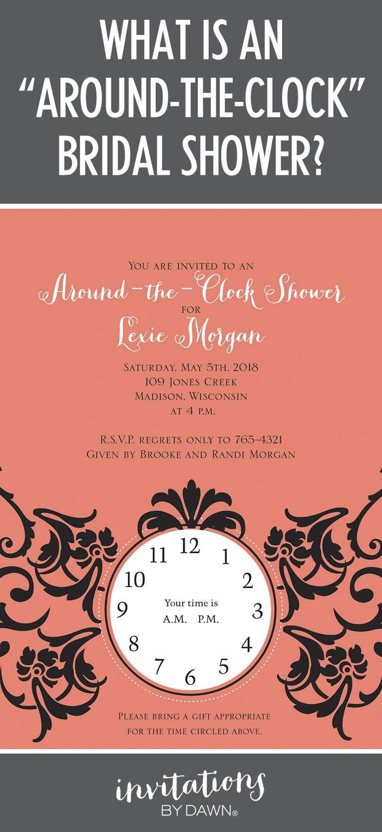 What Is An Around The Clock Bridal Shower Bridal Showers Clocks