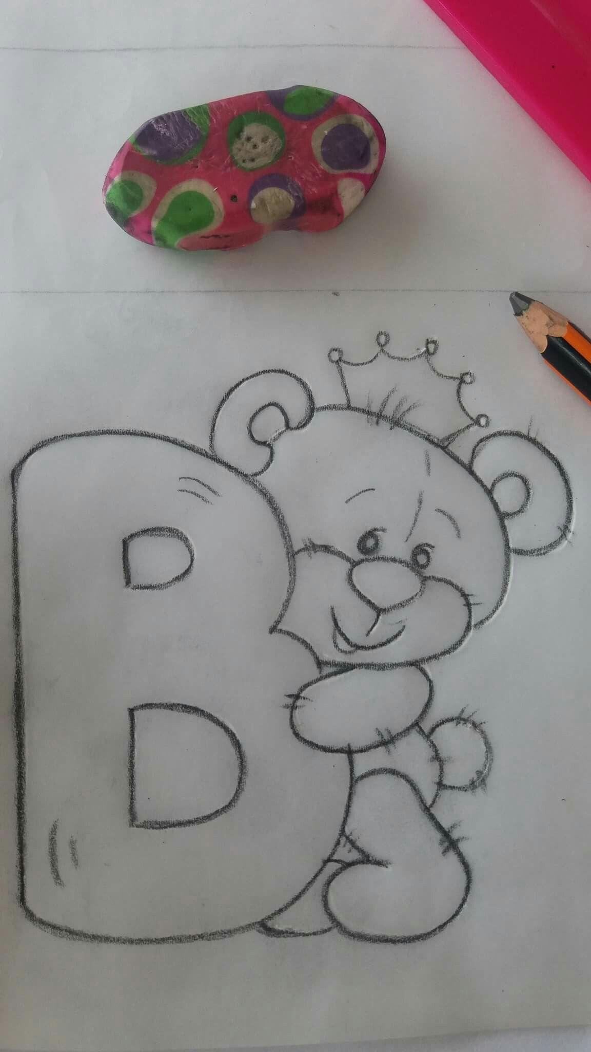 Literka B Z Misiem Desenhos Bonitos Coisas Simples Para