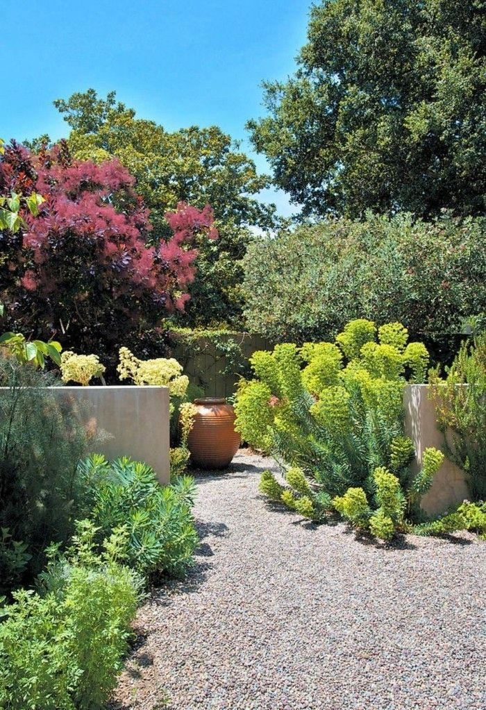Mediterraner Garten Kies Gartenboden Gestalten